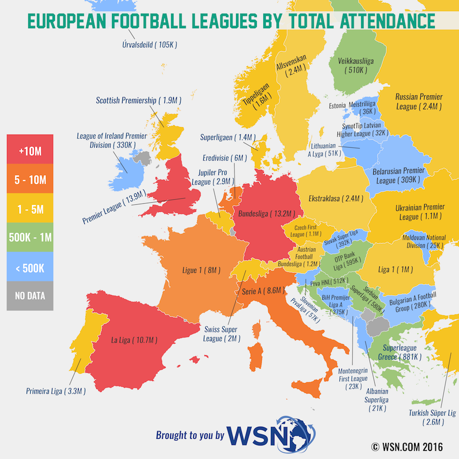 Map Showing Total Attendance at European Football Leagues