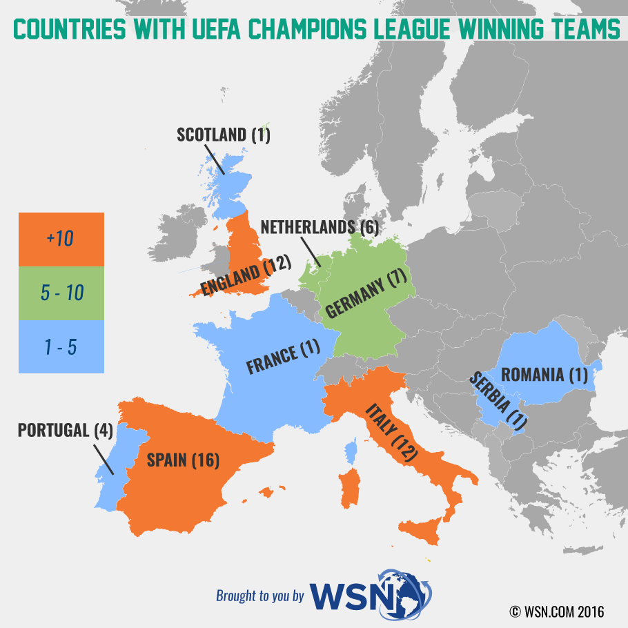 Countries Winners of Champions League Map