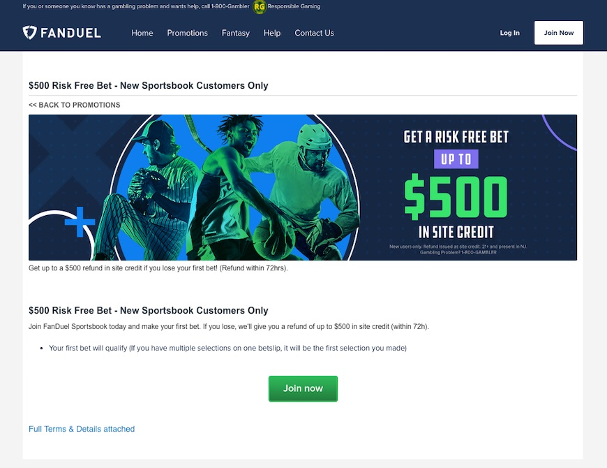 Screenshot of FanDuel Sportsbook