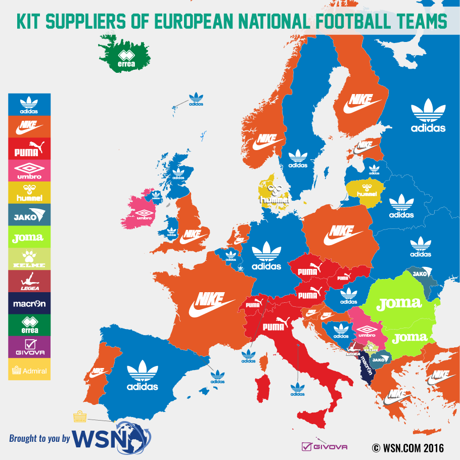 kit suppliers of european football teams map