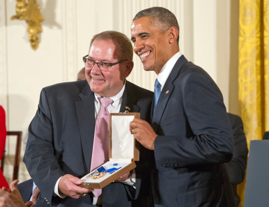 Larry Berra receives the Presidential for Yogi Berra