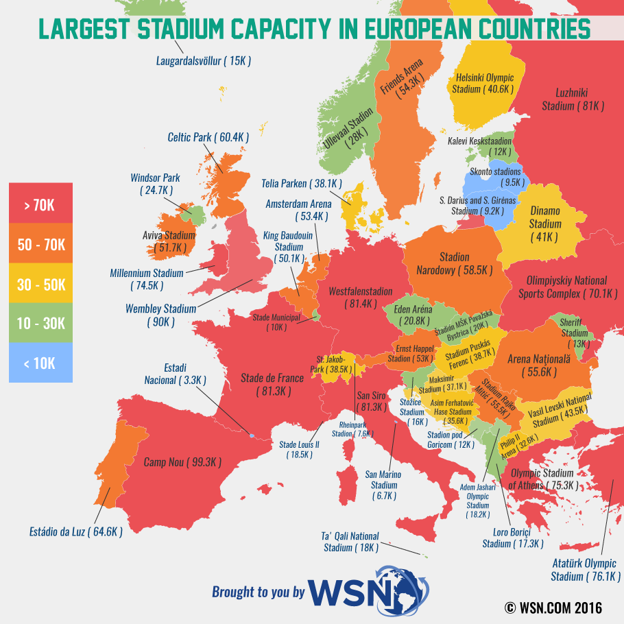 stadium capacity in europe map