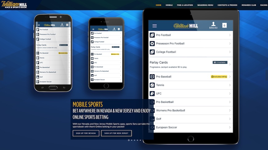 Screenshot of William Hill NJ
