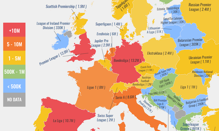 Cropped Version of Map of Total Attendance at European Football Leagues