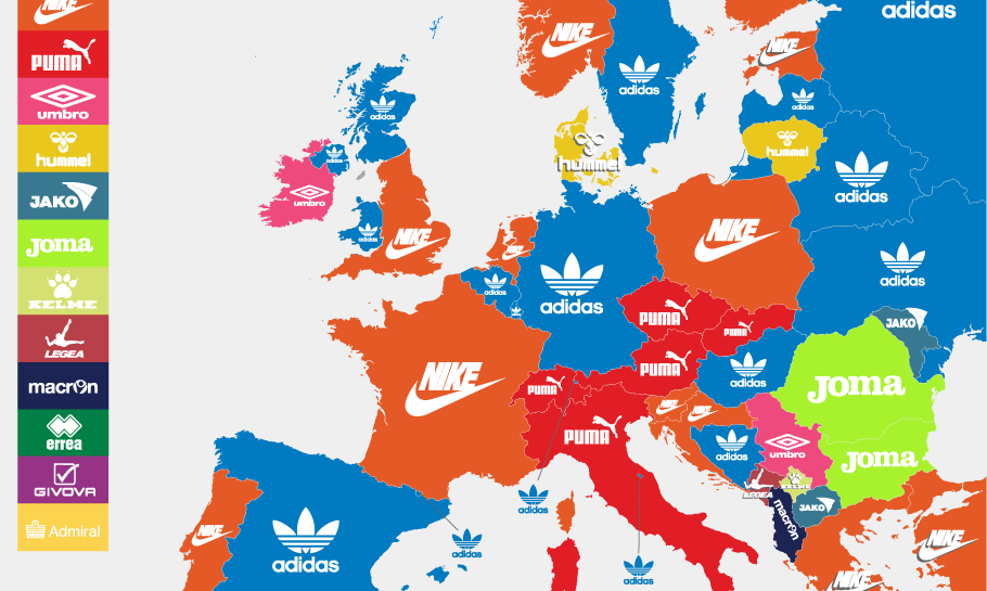 Kit Suppliers of European National Football Teams (Map)