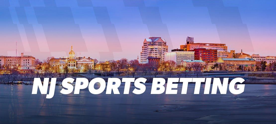 NJ Sports Betting written over a panorama of Trenton, NJ