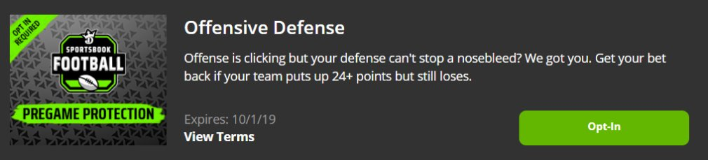 DraftKings NFL Promotion Offensive Defense