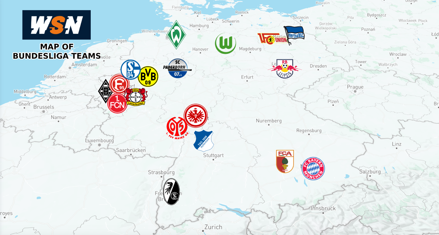 Map Of Bundesliga Teams Updated 2020 Wsn